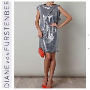 💕SALE💕Diane Von Furstenberg Silver Sequins Dress